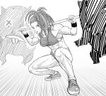 1girl abs bare_shoulders breasts buruma captain_mizuki fighting_stance greyscale high_ponytail highres holding holding_staff looking_at_viewer medium_breasts monochrome muscular muscular_female navel one-punch_man parted_lips shoes side_ponytail solo sports_bra squatting staff sweat wristband y_naf