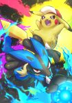 absurdres baseball_cap commentary_request energy energy_ball fang furry gen_1_pokemon gen_4_pokemon grey_eyes hat hatted_pokemon highres lucario nullma open_mouth pikachu pokemon pokemon_(creature) red_eyes red_headwear spikes tongue yellow_fur