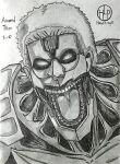 armored_titan artist_name drawfag glowing glowing_eye highres looking_at_viewer monochrome monster open_mouth reiner_braun shingeki_no_kyojin short_hair signature sketch titan_(shingeki_no_kyojin) tongue