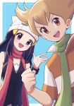 1boy 1girl :d barry_(pokemon) beanie black_hair blonde_hair blue_background blush border bracelet clenched_hand commentary dawn_(pokemon) framed green_scarf hair_ornament hairclip hat highres jewelry long_hair moegi_itsukashi open_mouth orange_eyes outside_border pokemon pokemon_(game) pokemon_dppt red_scarf scarf shirt short_hair short_sleeves sidelocks sleeveless sleeveless_shirt smile striped_jacket tongue white_border white_headwear