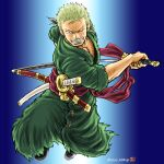 1boy dark-skinned_male dark_skin fighting_stance green_hair green_kimono holding holding_sword holding_weapon incoming_attack japanese_clothes jumping katana kimono kokorozashi looking_at_viewer male_cleavage male_focus navel one_piece open_clothes open_kimono pectorals roronoa_zoro scar scar_across_eye sheath short_hair solo sword toned toned_male unsheathing weapon