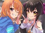 2girls beat_shooter_(idolmaster) black_hair blue_hoodie blurry depth_of_field ggyoku grin hand_up hood hoodie idolmaster idolmaster_cinderella_girls indoors jewelry looking_at_viewer looking_to_the_side matoba_risa multiple_girls necklace one_eye_closed orange_hair smile twintails upper_body v v-shaped_eyebrows yuuki_haru