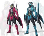 2boys adapted_costume alternate_costume claws crossover dante_(devil_may_cry) devil_may_cry_(series) devil_may_cry_3 devil_trigger gloves glowing glowing_eyes green_eyes highres horns kamen_rider katana multiple_boys rebellion_(sword) rider_belt sheath sheathed sword to_ze vergil_(devil_may_cry) weapon wings yamato_(sword) yellow_eyes