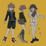 3boys alternate_costume bangs black_hair black_jacket black_legwear brown_hair buttons checkered checkered_neckwear checkered_scarf closed_mouth commentary_request dangan_ronpa:_trigger_happy_havoc dangan_ronpa_(series) dangan_ronpa_v3:_killing_harmony double-breasted from_side fujisaki_chihiro full_body green_shirt grey_jacket grey_shorts hair_between_eyes highres hood hoodie jacket kneehighs long_sleeves male_focus miniskirt multiple_boys naegi_makoto open_clothes open_jacket open_mouth otoko_no_ko ouma_kokichi profile scarf sema_(vivaviva_02) shirt shoes shorts simple_background skirt sneakers yellow_background