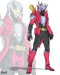 1boy adapted_costume alternate_costume armor belt blue_eyes crossover dante_(devil_may_cry) devil_may_cry_(series) devil_may_cry_3 devil_trigger helmet highres kamen_rider mask rider_belt to_ze weapon