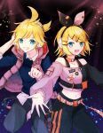 1boy 1girl bangs belt black_background black_pants black_shirt blonde_hair blue_eyes blue_shirt bow collar commentary cowboy_shot crop_top grin hair_bow hair_ornament hairclip hand_on_headphones headphones headset kagamine_len kagamine_rin leg_up looking_at_viewer midriff navel outstretched_arms pants project_sekai shirt short_hair short_ponytail smile spiky_hair standing swept_bangs two-tone_bow two-tone_shirt vest vocaloid yukara_(loiroio)