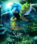 absurdres brown_eyes buizel commentary eye_contact gen_4_pokemon gen_5_pokemon highres likey looking_at_another no_humans open_mouth pokemon pokemon_(creature) samurott seaweed swimming underwater