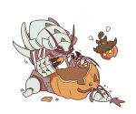 :< closed_mouth commentary eating fangs fangs_out gen_6_pokemon gen_7_pokemon golisopod pokemon pokemon_(creature) pumpkaboo pumpkin signature simple_background sitting ssalbulre white_background wimpod yellow_eyes