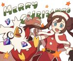 1boy 1girl :d belt blue_eyes blush_stickers bright_pupils brown_hair buttons capelet commentary delibird double_bun eyelashes floating_hair fur-trimmed_capelet fur-trimmed_headwear fur_trim gem gen_2_pokemon hat long_hair merry_christmas octillery official_alternate_costume open_mouth pokemon pokemon_(creature) pokemon_(game) pokemon_masters_ex red_capelet red_headwear rosa_(pokemon) sack santa_hat siebold_(pokemon) smile ssalbulre star_(symbol) tongue white_pupils