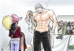 1girl 4boys abs beard black_pants character_request cigar coat coat_removed crowd denim facial_hair jeans kokorozashi large_pectorals male_focus mature_male multiple_boys muscular muscular_male navel nipples one_piece open_clothes open_fly open_shirt pants pectorals pubic_hair pubic_hair_peek scar scar_on_chest short_hair sideburns smoke smoker_(one_piece) smoking stomach stubble tashigi undressing white_hair