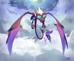 absurdres black_eyes commentary evolutionary_line eye_contact flying gen_6_pokemon highres likey looking_at_another no_humans noibat noivern outdoors pokemon pokemon_(creature) signature