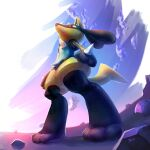 absurdres alternate_color closed_mouth commentary english_commentary from_below gen_4_pokemon highres likey lucario pokemon pokemon_(creature) red_eyes rock shiny_pokemon signature solo spikes standing toes