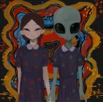 000v666 1girl 1other alien black_eyes blue_dress braid brown_hair closed_mouth colorful dress floral_print highres holding_hands looking_at_viewer multicolored multicolored_background original short_sleeves smile twin_braids upper_body