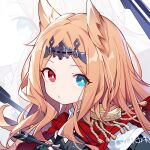 1girl :o animal_ears archetto_(arknights) arknights arrow_(projectile) black_shirt blue_eyes capelet commentary epaulettes holding holding_arrow long_hair looking_at_viewer orange_hair portrait quan_(kurisu_tina) red_capelet red_eyes shirt solo tiara zoom_layer