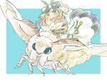 1boy antennae blue_background bug cape chibi fate/grand_order fate_(series) fur-trimmed_cape fur_trim goggles goggles_on_head insect k-hajime miniboy moth oberon_(fate) riding