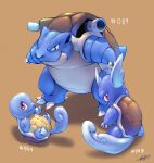 absurdres blastoise claws closed_mouth commentary english_commentary fang fang_out gen_1_pokemon highres likey looking_at_viewer lying no_humans number on_back pokedex_number pokemon pokemon_(creature) smile squirtle standing wartortle