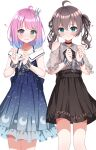 2girls absurdres ahoge aqua_eyes bangs black_choker black_neckwear black_ribbon black_skirt blue_dress bound bound_wrists bow bow_skirt bowtie brown_hair candy_hair_ornament choker clothing_cutout collared_shirt crescent crescent_earrings crown cuffs dress earrings eyebrows_visible_through_hair food-themed_hair_ornament gradient_hair green_eyes grey_shirt hair_between_eyes hair_ornament hair_ribbon hairclip heterochromia high-waist_skirt highres himemori_luna hololive huge_filesize jewelry karashi_(asarikarasi) lace lace-trimmed_skirt lace_sleeves lace_trim looking_at_viewer mini_crown multicolored_hair multiple_girls natsuiro_matsuri official_alternate_costume pink_hair plaid plaid_shirt puffy_short_sleeves puffy_sleeves purple_hair ribbon see-through_sleeves shackles shirt short_hair short_sleeves shoulder_cutout simple_background skirt tearing_up twintails violet_eyes virtual_youtuber wavy_hair