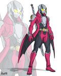 1boy adapted_costume alternate_costume armor belt commentary compound_eyes crossover dante_(devil_may_cry) devil_may_cry_(series) devil_may_cry_3 devil_trigger english_commentary helmet highres holding kamen_rider mask rebellion_(sword) rider_belt to_ze tokusatsu weapon yellow_eyes