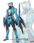 1boy adapted_costume alternate_costume armor belt blue_eyes compound_eyes crossover devil_may_cry_(series) devil_may_cry_3 devil_trigger helmet highres kamen_rider katana mask rider_belt sheath solo sword to_ze tokusatsu vergil_(devil_may_cry) weapon yamato_(sword)