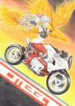 1girl baggy_pants bangs beige_shirt bird boots bow buttons collared_shirt colored_pencil_(medium) fire footwear_bow fujiwara_no_mokou full_body ground_vehicle hair_bow highres hime_cut long_hair long_sleeves motor_vehicle motorcycle ofuda ofuda_on_clothes outstretched_arms pants phoenix red_eyes red_footwear red_pants red_pond shirt shoes sidelocks silver_hair sleeve_garter spread_arms suspenders t-pose touhou traditional_media very_long_hair white_bow white_hair white_shirt yamaha