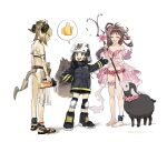 3girls animal_ears arknights barefoot barefoot_sandals bikini black_sheep blonde_hair boots brown_hair closed_eyes dated embarrassed emoji eyjafjalla_(arknights) eyjafjalla_(summer_flowers)_(arknights) fire_helmet fire_jacket firefighter flower flower_necklace frown hand_on_hip highres holding holding_staff horns ifrit_(arknights) ifrit_(sunburn)_(arknights) infection_monitor_(arknights) jewelry knee_pads leg_garter long_hair multiple_girls necklace off-shoulder_bikini off-shoulder_swimsuit off_shoulder official_alternate_costume open_mouth oripathy_lesion_(arknights) pink_bikini pink_flower pink_swimsuit plaid plaid_bikini platinum_blonde_hair sandals shaw_(arknights) sheep sheep_ears sheep_girl sheep_horns simple_background sketch squirrel_girl squirrel_tail staff sweatdrop swimsuit tail thumbs_up torch white_background white_bikini yuyanshu13