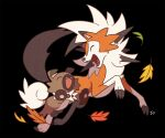 black_background closed_eyes commentary fangs gen_7_pokemon happy leaf lycanroc lycanroc_(dusk) no_humans open_mouth pokemon pokemon_(creature) rockruff simple_background ssalbulre toes tongue