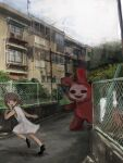 000v666 1girl apartment balcony bangs brown_eyes brown_hair building bush clouds cloudy_sky day dress fence highres horror_(theme) monster open_mouth original outdoors rabbit running short_twintails sky socks tears teeth tree twintails white_dress white_footwear