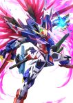 absurdres destiny_gundam energy_wings glowing glowing_weapon gundam gundam_seed gundam_seed_destiny highres kenko_(a143016) mecha mechanical_wings mobile_suit no_humans redesign science_fiction solo v-fin weapon wings yellow_eyes