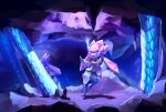 cave_interior commentary diancie full_body gen_6_pokemon highres likey looking_up mythical_pokemon no_humans outstretched_arms pokemon pokemon_(creature) stalactite stalagmite violet_eyes
