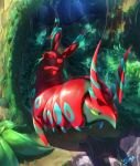 alternate_color bush colored_sclera commentary day forest gen_5_pokemon green_eyes highres likey nature no_humans outdoors pokemon pokemon_(creature) scolipede shiny_pokemon signature solo standing yellow_sclera