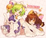 2girls animal_ears animal_hands animal_hat apron bell bow brown_hair cat_hat cat_tail chou_ji_yun copyright_name dejiko di_gi_charat dotted_line fang frills gloves green_eyes green_hair grid_background hair_bell hair_ornament hair_ribbon hat highres jingle_bell korean_text long_hair looking_at_another looking_at_viewer low_twintails maid_apron multiple_girls neck_bell open_mouth paw_gloves paw_shoes puchiko ribbon shoes short_hair signature simple_background sitting smile star_(symbol) tail tiger_ears tiger_tail twintails white_mittens yellow_eyes