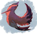 bird colored_sclera commentary english_commentary full_body gen_6_pokemon grey_eyes highres likey no_humans open_mouth pokemon pokemon_(creature) signature solo talonflame yellow_sclera