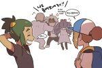2girls 3boys :d anger_vein arms_behind_head backpack bag baseball_cap bettie_(pokemon) blonde_hair blue_headwear brown_hair closed_eyes commentary dark-skinned_male dark_skin flying_sweatdrops green_hair guzma_(pokemon) hair_bun hat hau_(pokemon) holding_strap korean_text multicolored_hair multiple_boys multiple_girls open_mouth pokemon pokemon_(game) pokemon_masters_ex pokemon_sm rachel_(pokemon) sawyer_(pokemon_masters_ex) shirt short_hair short_ponytail smile speech_bubble ssalbulre sweatdrop translation_request two-tone_hair undershirt upper_teeth white_shirt