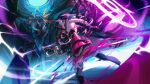 2girls armor back bangs bare_shoulders boots breasts chain chained disembodied_limb electricity floating floating_object floating_weapon full_body gauntlets glowing glowing_eye hair_between_eyes holding holding_sword holding_weapon honkai_(series) honkai_impact_3rd horns japanese_armor katana kiana_kaslana kiana_kaslana_(herrscher_of_the_void) long_hair looking_at_viewer looking_back multiple_girls polearm purple_hair raiden_mei raiden_mei_(herrscher_of_thunder) sheath sheathed sideboob single_gauntlet spear sword thigh-highs thigh_boots toni_infante violet_eyes weapon white_hair wings yellow_eyes