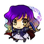 chibi dress gradient_hair hijiri_byakuren long_hair multicolored_hair purple_hair scroll simple_background socha solo touhou yellow_eyes