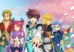 4boys asbel_lhant blonde_hair blue_eyes blue_hair brown_hair cheria_barnes cherry_blossoms cravat flower glasses gradient_hair heterochromia hubert_ozwell mako_(caramel08) malik_caesars multicolored_hair multiple_boys multiple_girls pascal petals pink_hair purple_eyes purple_hair red_hair redhead richard_(tales_of_graces) sophie_(tales_of_graces) tales_of_(series) tales_of_graces twintails two_side_up violet_eyes white_hair