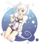 animal_ears bare_legs bishoujo_senshi_sailor_moon curly_hair futomashi gloves jewelry kneeling magical_girl mouse_ears mouse_tail necklace no_legwear pointing purple_eyes sailor_iron_mouse smile solo tail white_hair wink