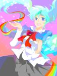 blue_eyes blue_hair hatsune_miku long_hair rainbow smile tegaki twintails vocaloid