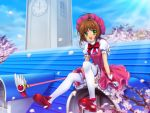 brown_hair card_captor_sakura cardcaptor_sakura cherry_blossoms clock clock_tower dress fuuin_no_tsue green_eyes hat kinomoto_sakura magical_girl mary_janes mutsuki_(moonknives) open_mouth petals rooftop shoes smile thigh-highs thighhighs tower white_legwear white_thighhighs wings
