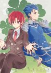 1boy 1girl bazett_fraga_mcremitz blue_hair bodysuit character_name earrings fate/stay_night fate_(series) formal jewelry lancer necktie pant_suit ponytail red_eyes redhead short_hair suit title_drop triplebomber