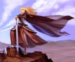 armor blonde_hair boots braid breastplate cape cloud clouds faulds hands_on_hilt long_hair original pose saejin_oh solo sword weapon wind
