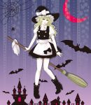 bat blonde_hair boots bow bracelet braid broom green_eyes halloween hat high_heels highres jewelry kirisame_marisa kota_tsu long_hair shoes solo spider spider_web touhou witch_hat