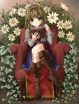 armchair blonde_hair blue_eyes book boot boots capelet crossed_legs dress flower hairband highres open_book reading short_hair sitting solo touhou unasaka_ryou vines