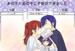 2boys androgynous arisato_minato blue_hair child closed_eyes couple female_protagonist_(persona_3) gradient_hair hair_ornament hairpin ichimatsu_shiro if_they_mated kiss long_hair multicolored_hair multiple_boys persona persona_3 persona_3_portable smile time_paradox translated translation_request