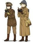 2girls absurdres adrian_helmet anyan_(jooho) bag black_hair blonde_hair blue_eyes boots brown_coat brown_eyes brown_footwear brown_headwear brown_jacket brown_pants coat commentary_request english_text full_body grey_headwear hat helmet highres holding holding_notebook holding_pen jacket korean_commentary long_sleeves military military_uniform multiple_girls multiple_sources notebook open_mouth original pants pen satchel short_hair simple_background smile standing tongue tongue_out trench_coat uniform united_states_army white_background writing