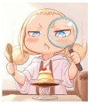 1girl :< blonde_hair blue_eyes child commentary_request cup drooling food hood hoodie kozato_(yu_kozato) low_twintails magnifying_glass mug original pudding saliva short_twintails solo spoon twintails white_hoodie wooden_spoon