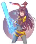 1girl ;d absurdres animal_ears bangs belt black_bodysuit bodysuit breasts brown_eyes brown_hair chainsaw commentary_request covered_navel cowboy_shot crop_top cropped_legs energy_weapon eyebrows_visible_through_hair heart highres holding holding_chainsaw holding_weapon iesupa long_hair one_eye_closed open_mouth rabbit_ears rabbit_girl rabbit_tail rwby shorts smile solo spoken_heart tail velvet_scarlatina weapon white_background