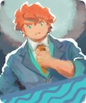 1boy adjusting_neckwear alternate_costume bangs closed_mouth collared_shirt commentary english_commentary frown go-lurk green_eyes green_vest grey_jacket gym_leader hair_between_eyes hand_up jacket league_card male_focus milo_(pokemon) necktie no_sclera orange_hair orange_neckwear pokemon pokemon_(game) pokemon_swsh shirt short_hair sleeves_rolled_up solo upper_body vest white_shirt