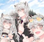 1boy 2girls animal_ears arknights asymmetrical_hair bead_necklace beads black_coat black_neckwear blue_sky cliffheart_(arknights) closed_mouth clouds coat earrings eyewear_on_head fangs finger_heart fur-trimmed_coat fur_trim grey_eyes head_chain highres jewelry leopard_boy leopard_ears leopard_girl light_smile looking_at_viewer mad_pingu medium_hair mountain multiple_girls necklace necktie open_mouth orange-tinted_eyewear parted_lips pramanix_(arknights) shirt silverash_(arknights) single_earring sky smile sunglasses symbol-only_commentary thumbs_up tinted_eyewear tongue turtleneck upper_body v watch watch white_hair white_shirt