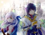 1boy 1girl artist_name bangs black_gloves blue_eyes blue_hair blue_scarf blurry blurry_background blush book book_hug bridal_gauntlets cape castle commentary depth_of_field dress elbow_gloves fingerless_gloves fire_emblem fire_emblem:_radiant_dawn gloves hair_ribbon half_updo holding holding_book light_particles long_hair looking_at_another looking_back micaiah_(fire_emblem) outdoors pelleas_(fire_emblem) ribbon robe scarf silver_hair sleeveless sleeveless_dress smile sunlight sunrise turtleneck yellow_eyes yuyu_(spika)
